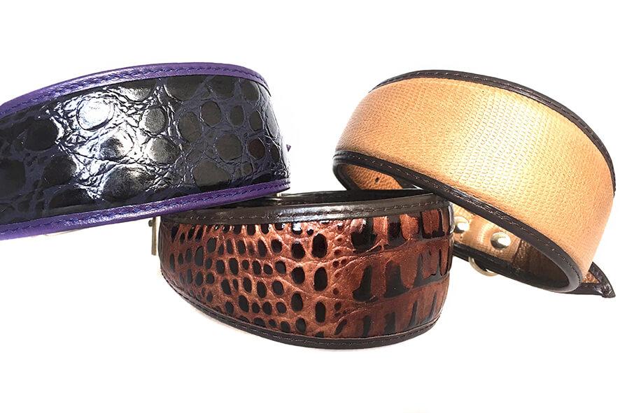 Brown lizard, brown python and purple indigo snake hound collars in Size M