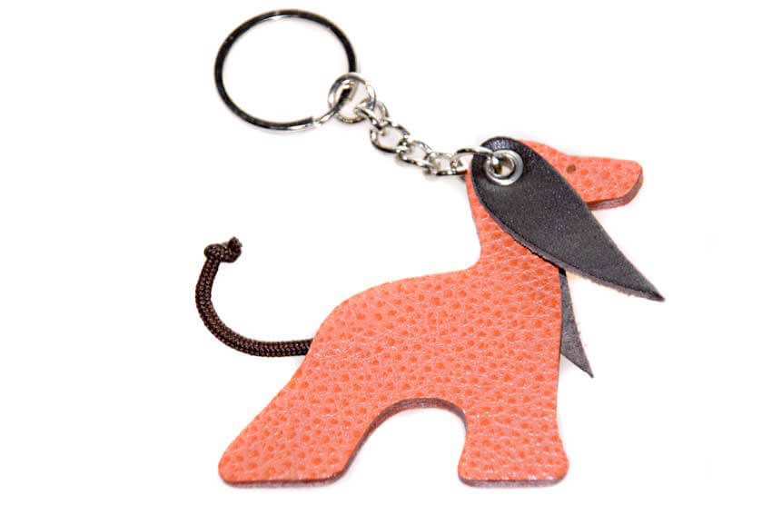 Leather Afghan hound key ring in red
