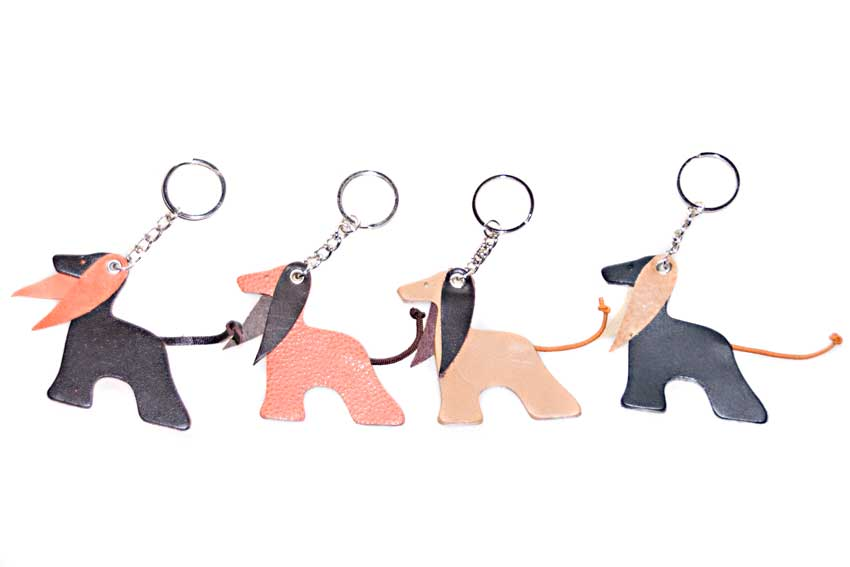 Afghan hound key rings are available in a range of colours