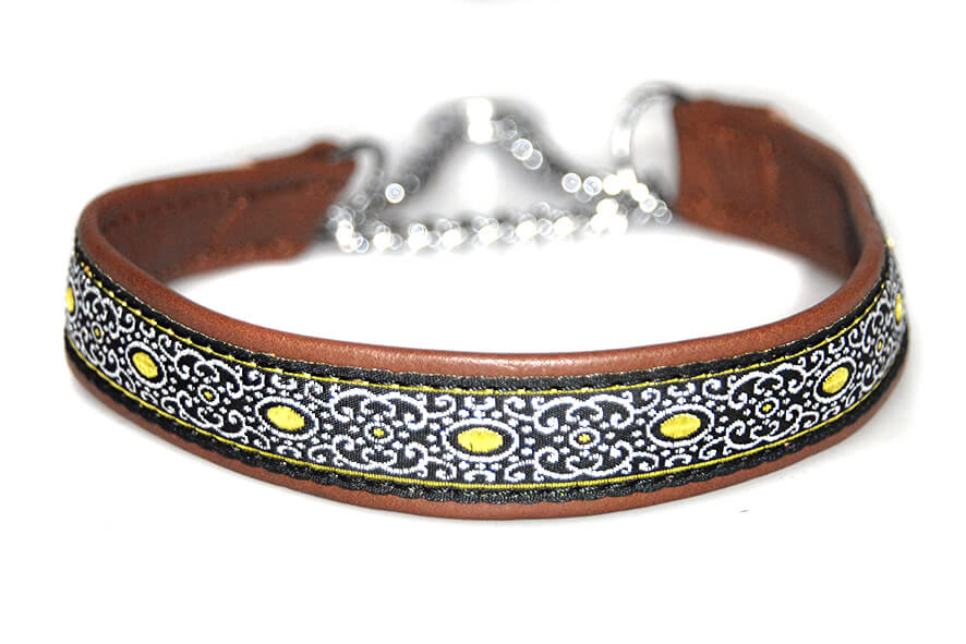 Soft brown leather martingale ribbon collar