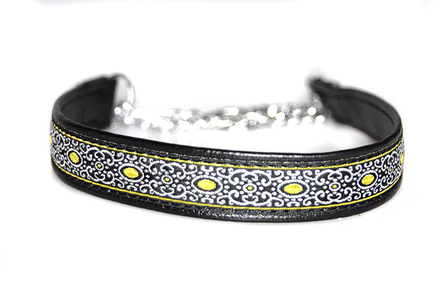 Soft black leather martingale ribbon collar