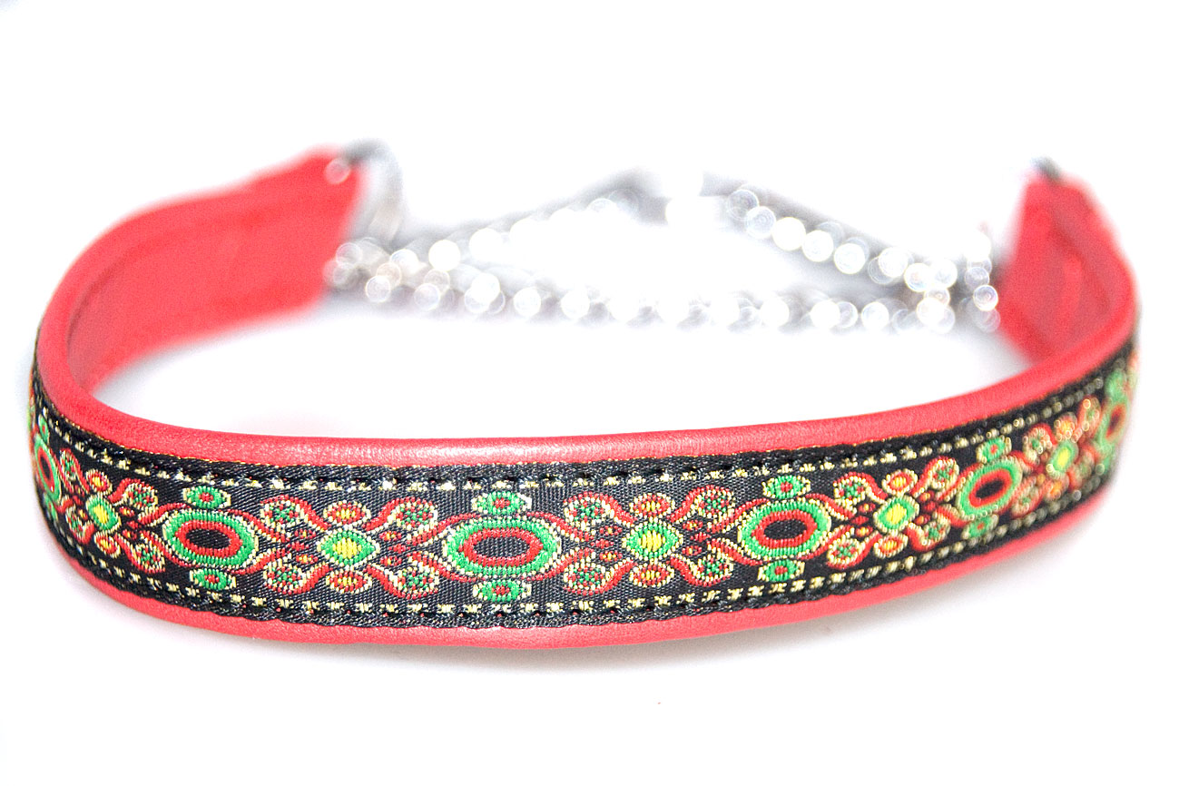 Soft red leather martingale ribbon collar