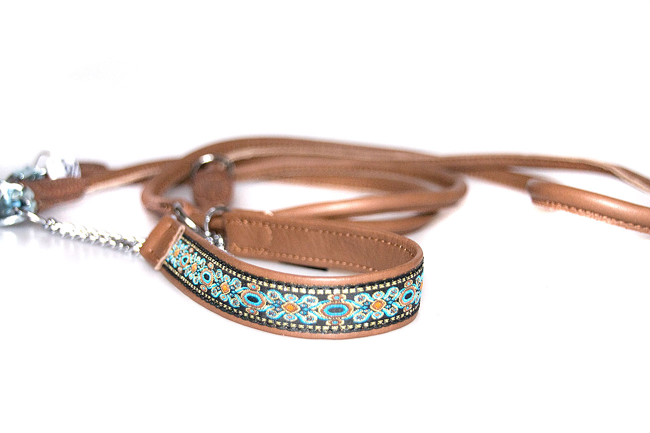 Soft leather martingale ribbon collar with rolled lead