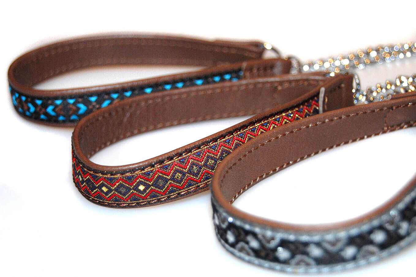 Martingale leather collars with decorative ribbons