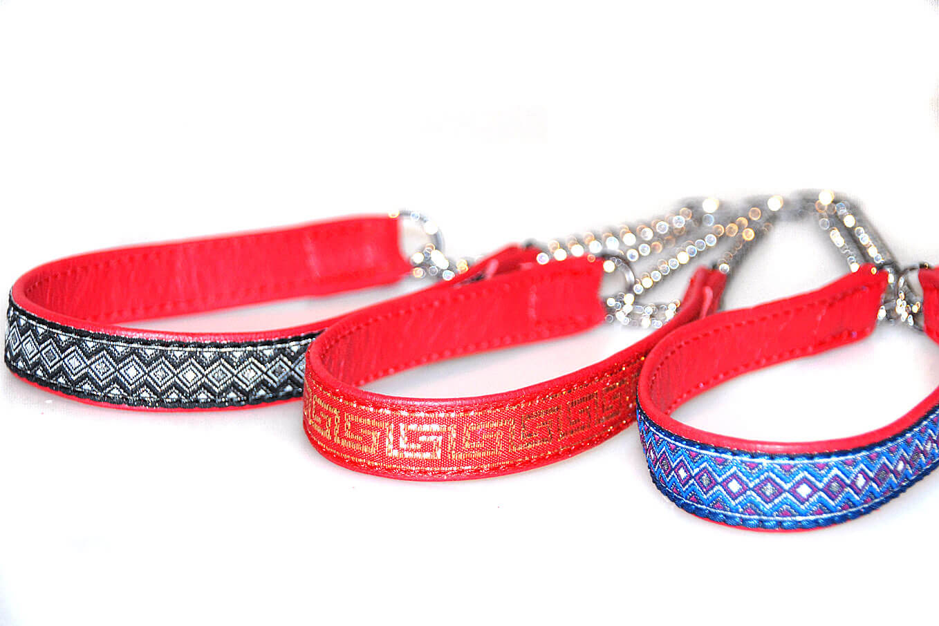 Red martingale leather ribbon collars
