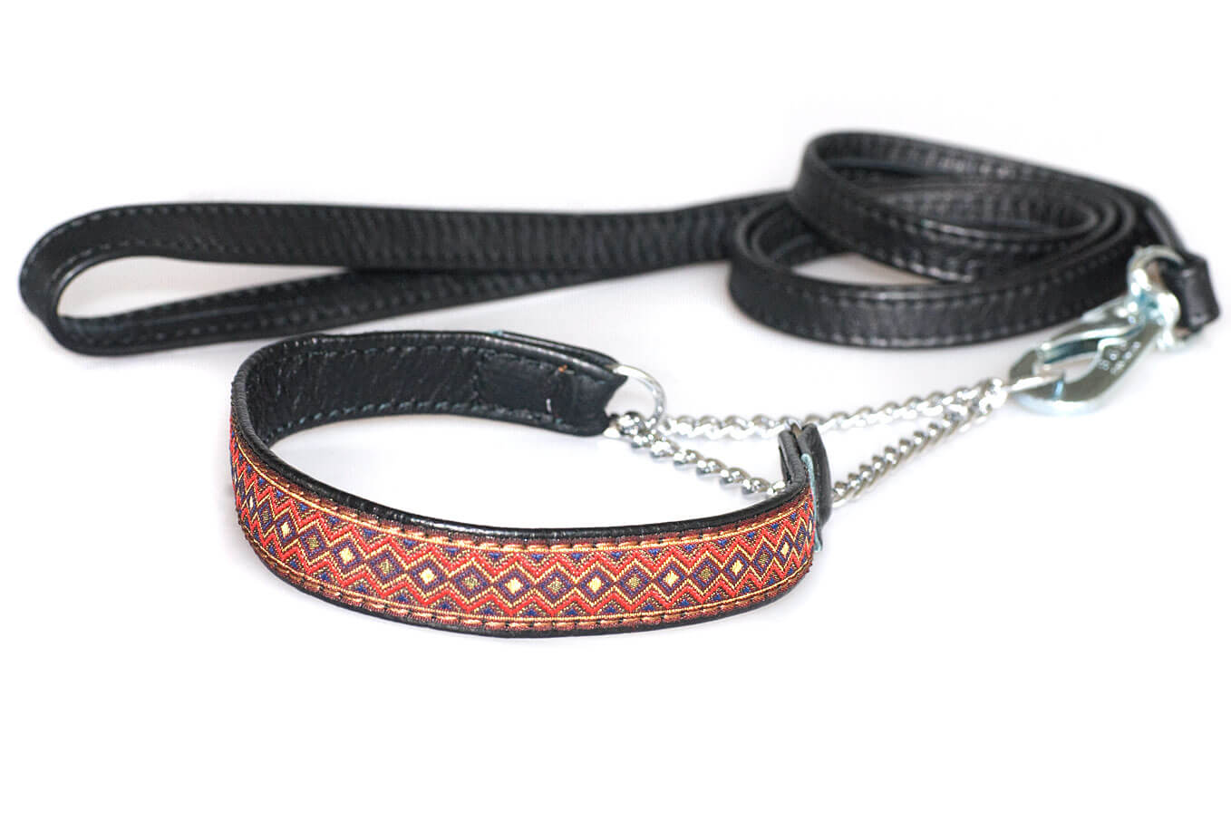 Black nappa leather double folded stitched dog lead 1.5m / 5ft with martingale ribbon collar