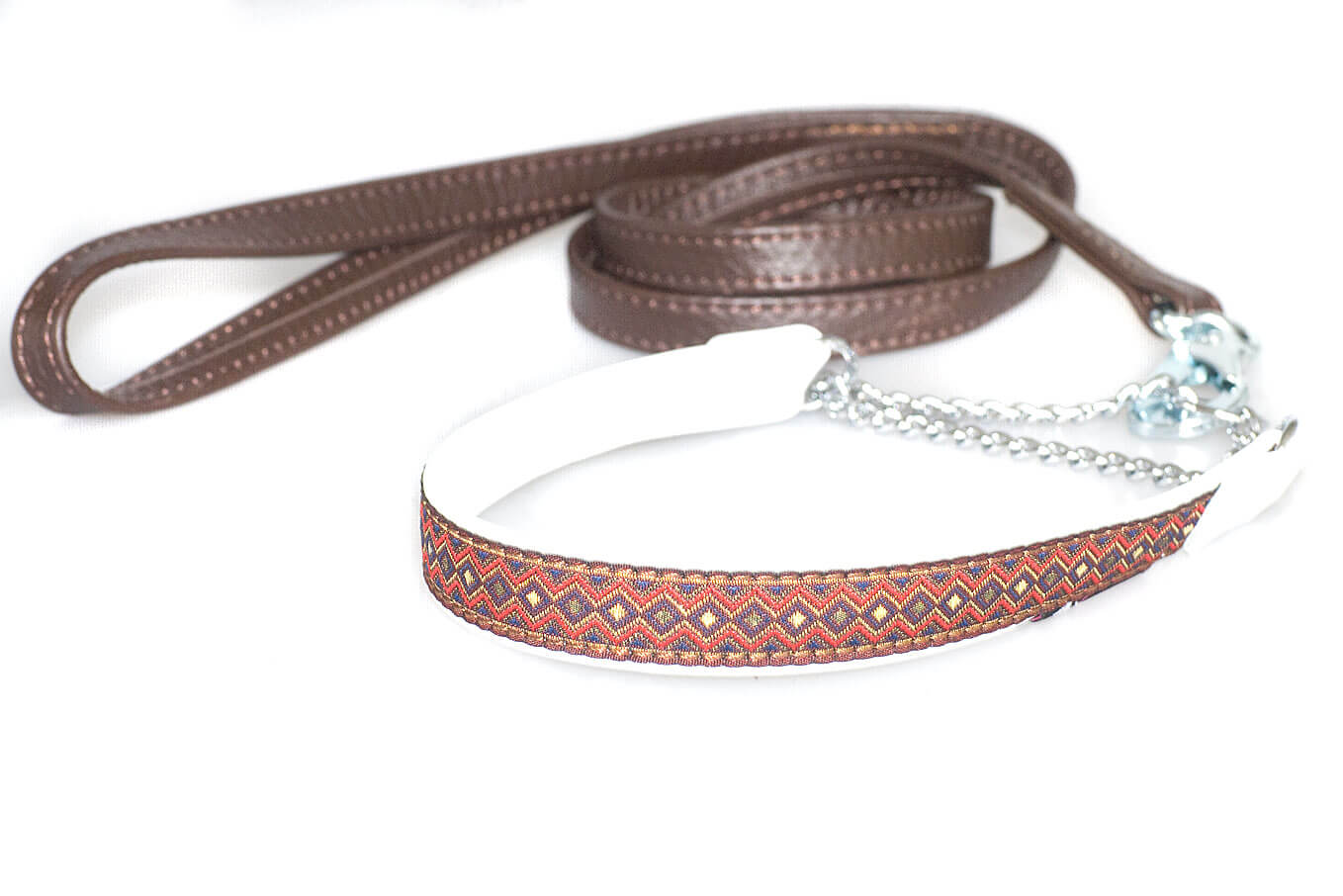 Brown nappa leather double stitched lead to match ribbon collars