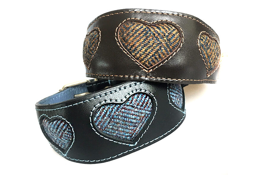 Tarras tweed hearts collar available in brown colourway too