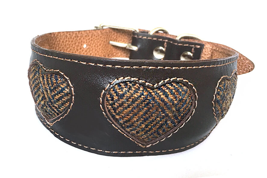 Soft padded brown and tan sighthound collar with Tarras tweed hearts