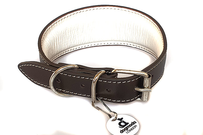 Traditional handmade brown leather hound collar