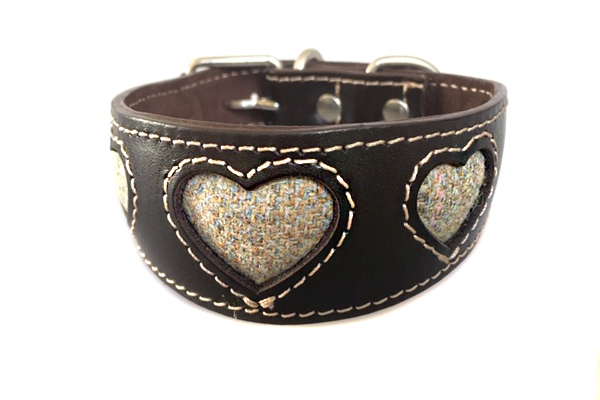 Barley tweed hearts whippet collar