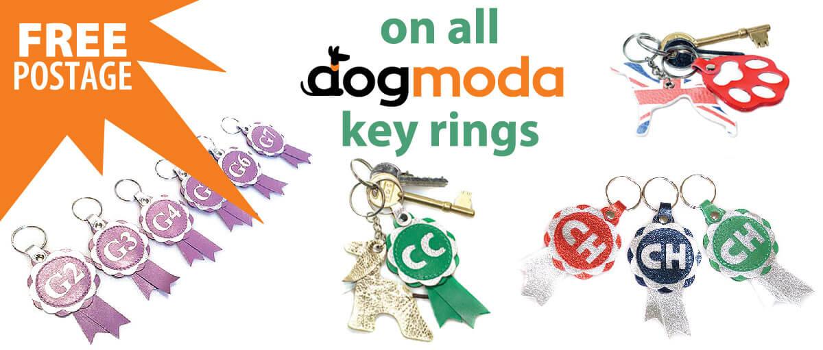 Dog Moda personalised leather keyring range