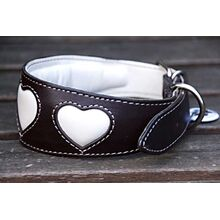 Soft padded brown leather hound collar with cream hearts