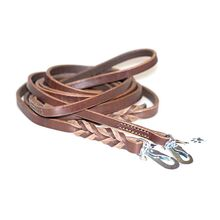 Dog Moda brown leather leashes - narrow stitched and wide plaited leash
