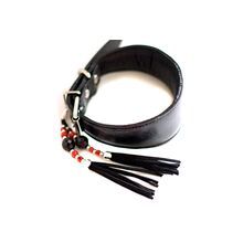 Black leather hound collar with decorative tassel