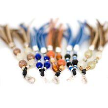 Beige/Blue/Orange dog collar  tassels' colour variations