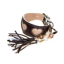 Beige hearts collar with matching handmade tassel