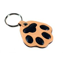 Brown dog paw key ring / bag charm