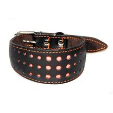 Dusk safety brown leather reflective dog collar