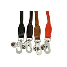 Rolled leather dog leads available in black, brown, tan, red leather