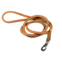 Tan rolled leather dog lead 1.5m / 5ft