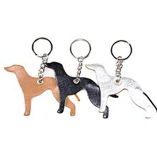 Whippet key rings fobs are available in fawn, black and silver