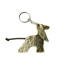Gold leather Afghan hound key ring
