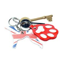 British whippet with red paw key fobs