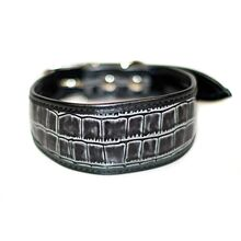 Grey leather hound collar