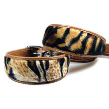 Amur tiger dog collar variations in tiger faux fur pattern