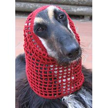 Afghan hound in cotton crochet snood