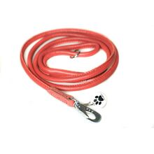 Red rolled leather dog lead 1.5m / 5ft
