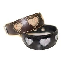 Dog Moda made to order Hearts collars in tweed supplied by customer