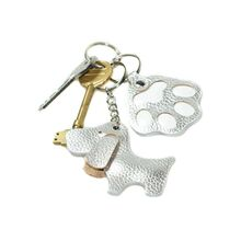 Silver leather key ring from Dog Moda