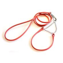 Red leather half check dog show set: Leather martingale dog show collar and show dog lead