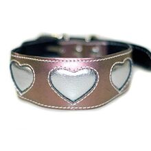 Iridescent metallic pink with silver hearts Greyhound / Lurcher / Saluki leather collar