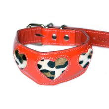 Red patent leather collar with leopard fur hearts