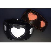 reflective hearts range in flash light
