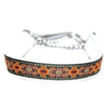 Soft white leather martingale ribbon collar