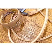 Adjustable beige rolled leather dog lead for hands-free walking