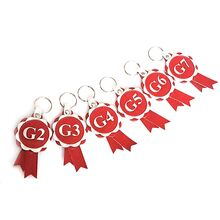 Agility grades leather rosette keyrings in red and silver leather - available for G2, G3, G4, G5, G6 and G7 agility grade