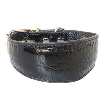 Black leather hound collar with shine and embossed pattern