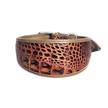 Brown cobra leather hound collar
