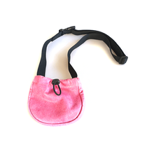 Pink leather treat bag with adjustable belt