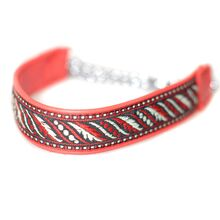 Red martingale leather ribbon collar