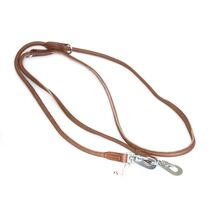 Rolled police style brown leather adjustable dog training lead doubled at 1.2m