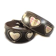 Barley and Heather honey tweed hearts Whippet collars