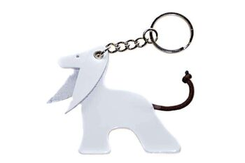 White Afghan hound key ring