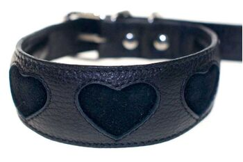 Soft padded black leather hound collar with black suede hearts