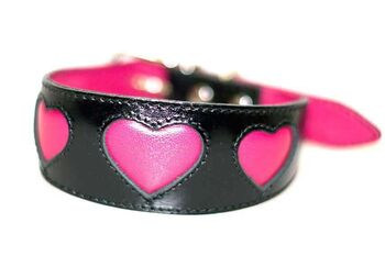 Pink fuchsia hearts sighthound collar